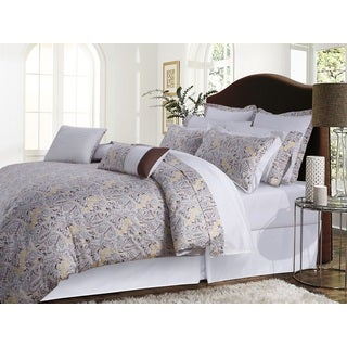 Fiji Chocolate/ Grey Paisley Cotton Sateen 12-piece Bed in a Bag with Deep Pocket Sheet Set