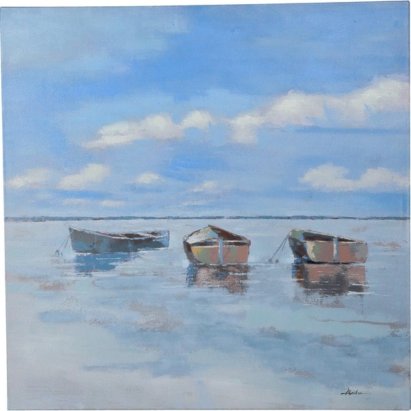 Boats on the Water' Quiet Perfect Day at Sea with Three Boats on the Water Canvas Artwork