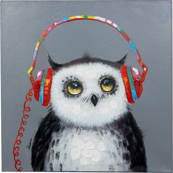 Owl in the Know Painting with Headphones Canvas Artwork