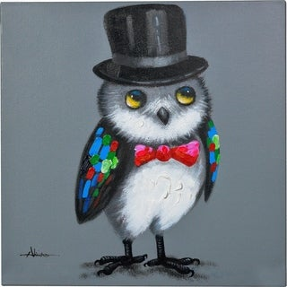 The Wise Owl Wearing A Hat Canvas Artwork