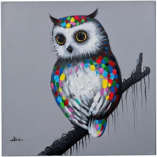 Gaining Wisdom Wise Owl on a Branch Canvas Artwork Painting