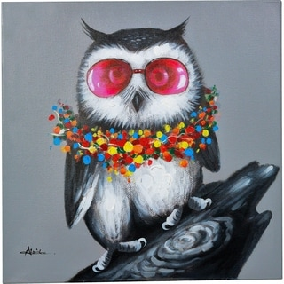Colorful Smart Owl on Branch Canvas Artwork