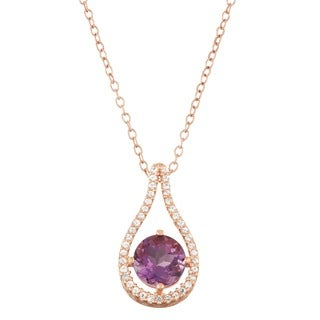 Gioelli Rose Gold over Silver Amethyst Tear-drop Pendant