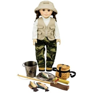 The Queen's Treasures Fishing Adventure Set Including Doll Clothes, Accessory Set, and Hiking Boots