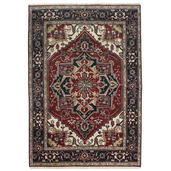 Ecarpetgallery Hand-knotted Serapi Heritage Blue and Red Wool Rug (6' x 8'10) 18151234