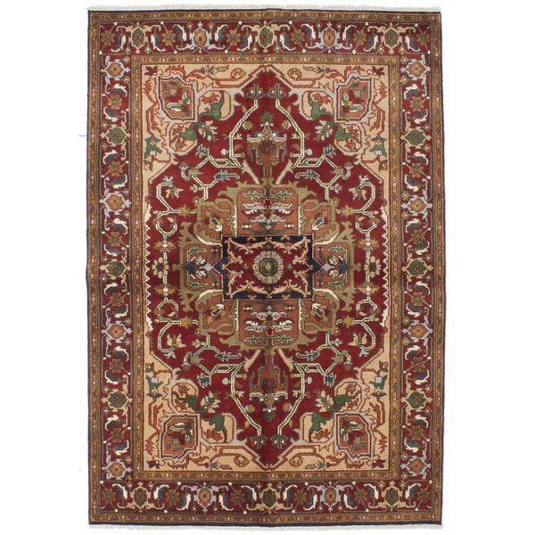 Ecarpetgallery Hand-knotted Serapi Heritage Red Wool Rug (6' x 8'10) 18151258