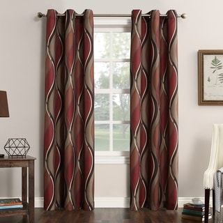 No. 918 Intersect Grommet Woven Print Window Curtain Panel
