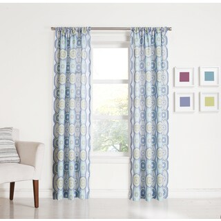No. 918 Camilla Rod Pocket Sheer Print Window Curtain Panel (Single Panel)