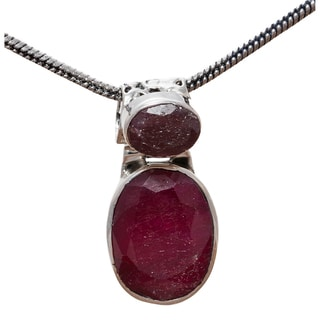 Sitara Collections Sterling Silver Double Ruby 18-inch Pendant Necklace (India)