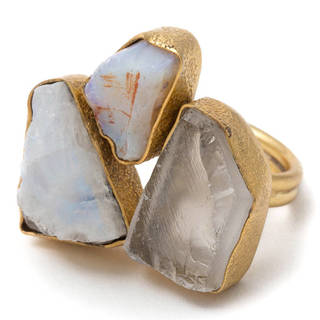 Goldplated Brass Ethiopian Opal and Rainbow Crystal Adjustable Ring (India)