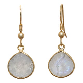 Goldplated Brass Faceted Rainbow Moonstone Dangle Earrings (India)