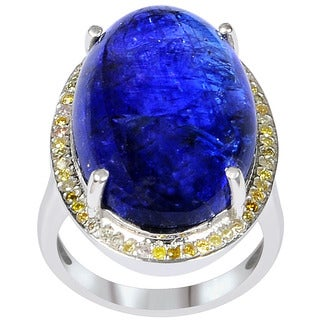 Orchid Jewelry One of A Kind 925 Sterling Silver Ring 31.07ct TGW Genuine Diamond & Tanzanite