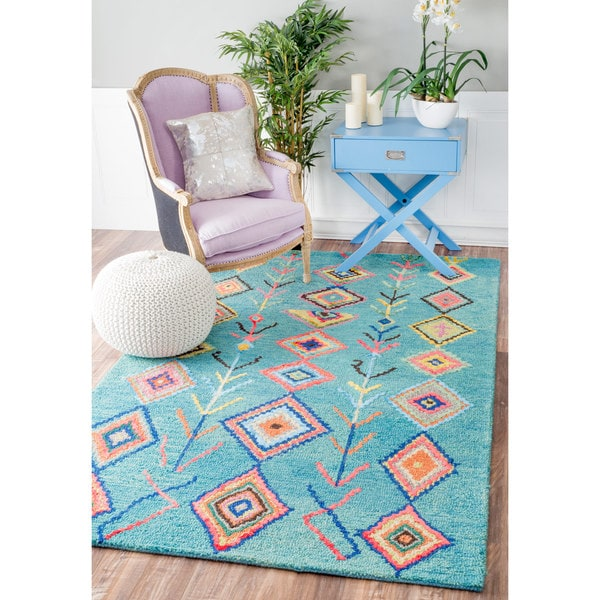 Nuloom Crandall Turquoise Area Rug Reviews: NuLOOM Contemporary Handmade Wool/ Viscose Moroccan