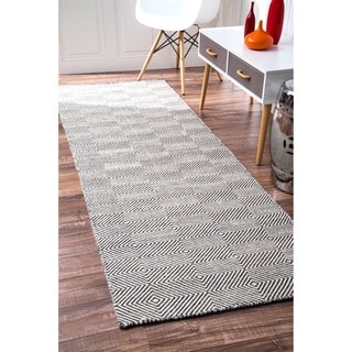 nuLOOM Handmade Concentric Diamond Trellis Wool/ Cotton Runner Rug (2'6 x 8')