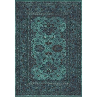 Carolina Weavers Bright Color Modern Traditional Hermitage Blue Area Rug (7'10 x 10'10)