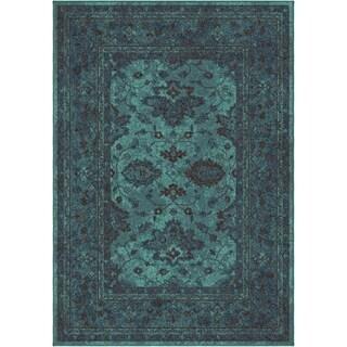 Carolina Weavers Bright Color Modern Traditional Hermitage Blue Area Rug (6'7 x 9'8)
