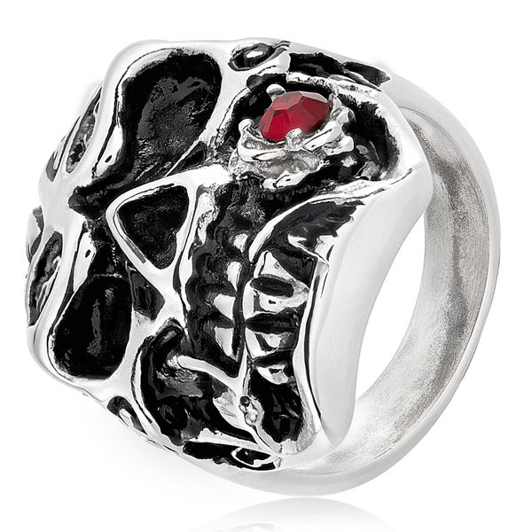 Men's Stainless Steel Red Cubic Zirconia Rose Skull Ring - 26mm Wide