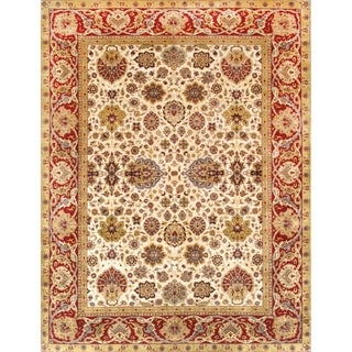 Pasargad Majestic Tabriz Hand-knotted Ivory and Red Wool Rug (9' x 12')