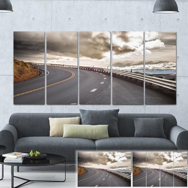 Designart 'Sky Road Curve Landscape' Photo Canvas Print