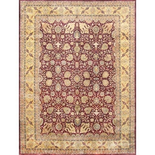 Pasargad Majestic Tabriz Hand-knotted Burgundy and Gold Wool Rug (9' x 12')