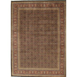 Pasargad Majestic Tabriz Hand-knotted Navy and Rust Wool Rug (10' x 14')