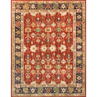 Pasargad Sultanabad Hand-knotted Rust and Navy Wool Rug (9' x 12')