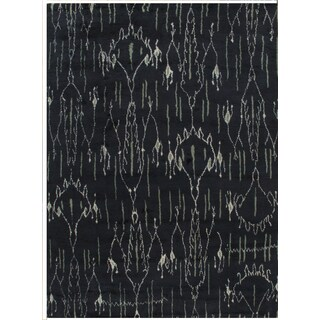 Pasargad Moroccan Hand-knotted Navy Wool Rug (10' x 14')