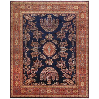 Pasargad Sarouk Hand-knotted Navy and Red Wool Rug (10' x 14')
