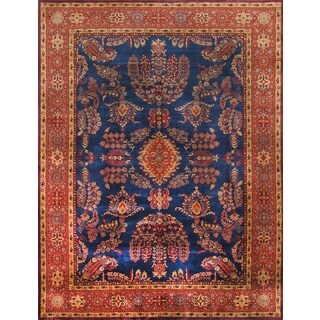 Pasargad Sarouk Hand-knotted Blue and Rust Wool Rug (9' x 12')
