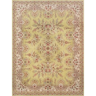 Pasargad Tabriz Hand-knotted Yellow and Ivory Silk and Wool Rug (9' x 12')