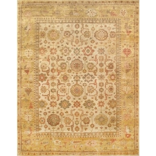 Pasargad Oushak Hand-knotted Ivory and Gold Wool Rug (9' x 12')