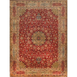 Pasargad Agra Hand-knotted Red and Beige Wool Rug (9' x 12')