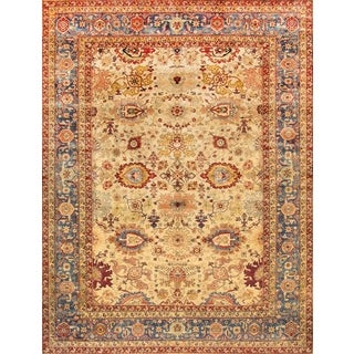 Pasargad Agra Hand-knotted Gold and Light Blue Wool Rug (9' x 12')