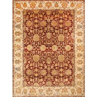 Pasargad Agra Hand-knotted Red and Ivory Wool Rug (9' x 12')