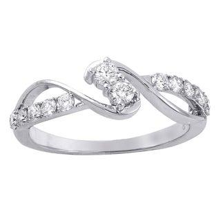Beverly Hills Charm 14K White Gold 1/2ct TDW Diamond 2-Stone Anniversary Ring (H-I, SI2-I1)
