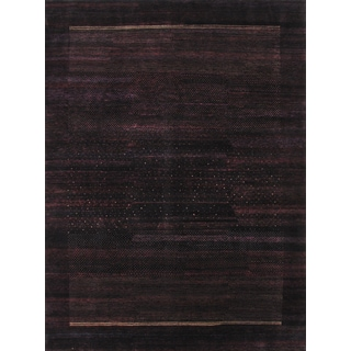Pasargad Gabbeh Hand-knotted Black Wool Rug (8' x 11')
