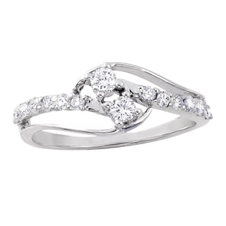 Beverly Hills Charm 14K White Gold 2/5ct TDW Diamond 2-Stone Anniversary Ring (H-I, SI2-I1)