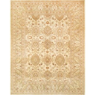 Pasargad Ferehan Hand-knotted Beige and Green Wool Rug (9' x 12')