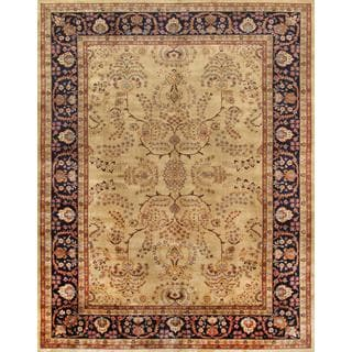 Pasargad Sarouk Hand-knotted Ivory and Navy Wool Rug (9' x 12')