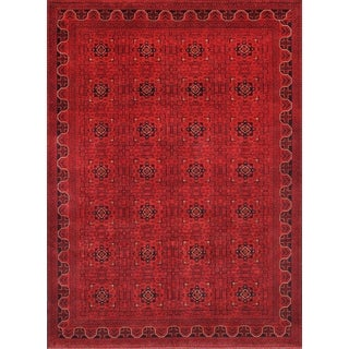 Pasargad Yamoud Hand-knotted Burgundy Wool Rug (8' x 11')