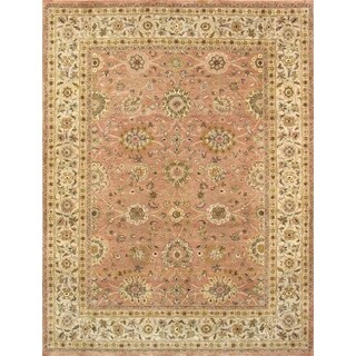 Pasargad Kashan Hand-knotted Salmon and Beige Wool Rug (9' x 12')