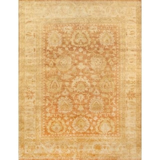 Pasargad Oushak Hand-knotted Orange and Ivory Wool Rug (9' x 12')