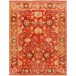Pasargad Agra Hand-knotted Rust Wool Rug (9' x 12')