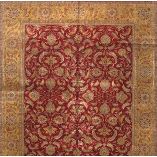 Pasargad Agra Hand-knotted Red and Gold Wool Rug (9' x 12')