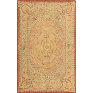 Pasargad Savonnerie Hand-knotted Beige and Rose Wool Rug (9' x 14')
