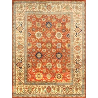 Pasargad Mahal Hand-knotted Rust and Ivory Wool Rug (9' x 12')