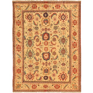Pasargad Sultanabad Hand-knotted Yellow Wool Rug (9' x 12')