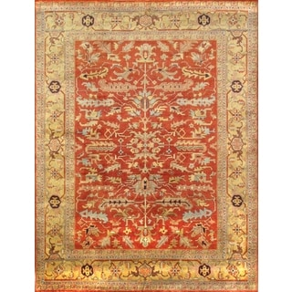 Pasargad Mahal Hand-knotted Rust and Gold Wool Rug (9' x 12')