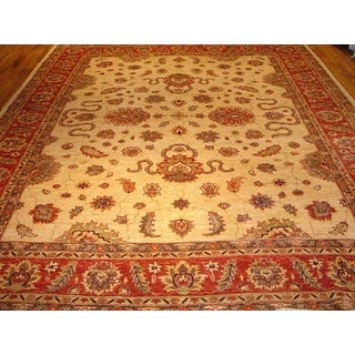 Pasargad Sultanabad Hand-knotted Ivory and Rust Wool Rug (9' x 12')