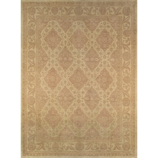 Pasargad Ferehan Hand-knotted Beige Wool Rug (10' x 14')